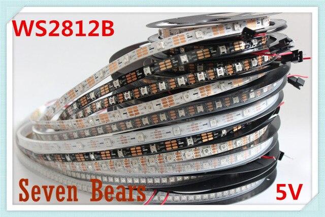 DC5V 1m/5m Black/White PCB 30/60/144 leds/m WS2812IC 30/60/144 LED pixels WS2812B Smart led pixel strip lights