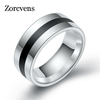 ZORCVENS 316L High Quality Men Epoxy Titanium Stainless Ring Lover Couple Rings for Women Men Silver Vintage Cool Rings
