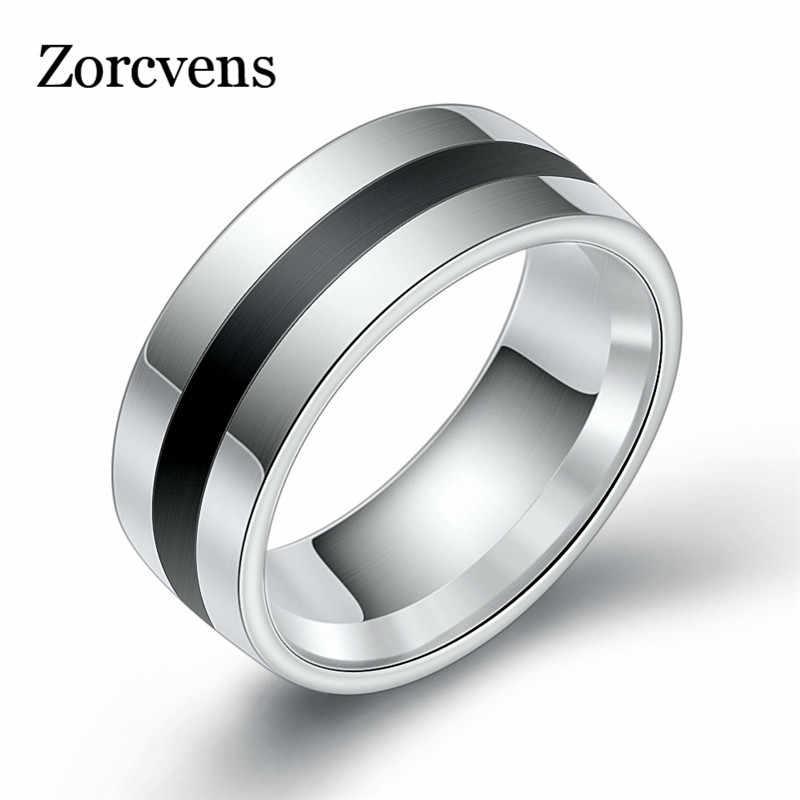 ZORCVENS 316L Nam Cao cấp Epoxy Titan Thép Không Vòng Người Yêu Nhẫn Đôi Nhẫn Cặp dành cho Nữ Bạc Vintage Thoáng Mát Nhẫn