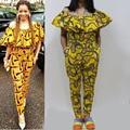 Sp6053 2016 novo design africano imprimir jumpersuit vestuário africano para as mulheres feitas de tecido africano tecido estampado de cera africano
