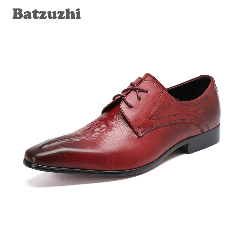 цена на Batzuzhi Fashion Genuine Leather Mens Dress Shoes Wine Red Business Male Shoes Men Pointed Toe Lace-up Wine Red Wedding Shoes