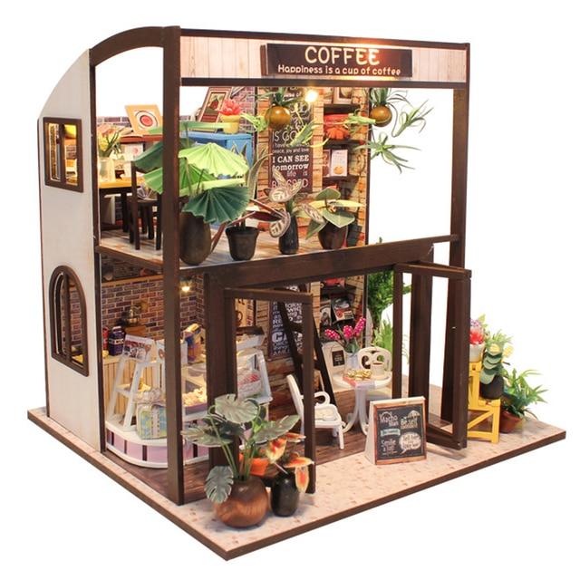 Holz Puppenhaus Möbel Kit Miniatur Café Montiert Modell Dekoration DIY  Puppenhaus Puzzle Spielzeug Geburtstag Weihnachten Geschenk