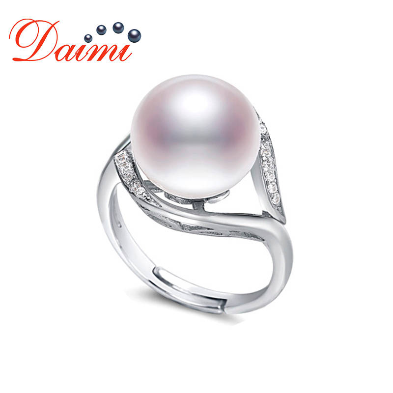 2019 Sale Brand Design Genuine 925 Sterling Silver Ring Jewelry Pearl 9-10mm Freshwater Pearl Ring