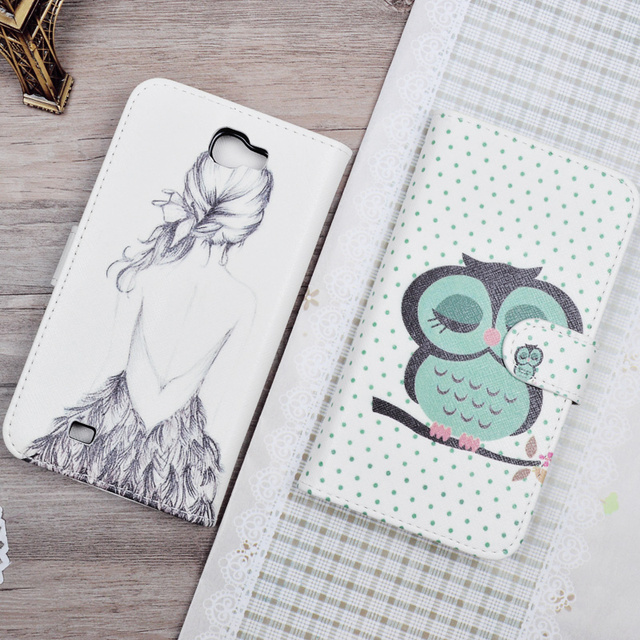 Luxury Painting Flip PU Leather Hard Case  For Samsung Galaxy Note 2 II N7100 GT-N7100 Phone Bag Stand Wallet Cases Back Cover