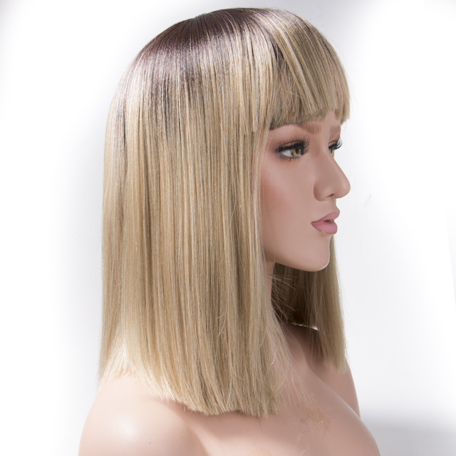 Qp hair 14inch Kanekalon Synthetic Hair Wigs Yaki Straight Blonde Wig Bangs  Short Bob Wigs For Women a83a8fb50734