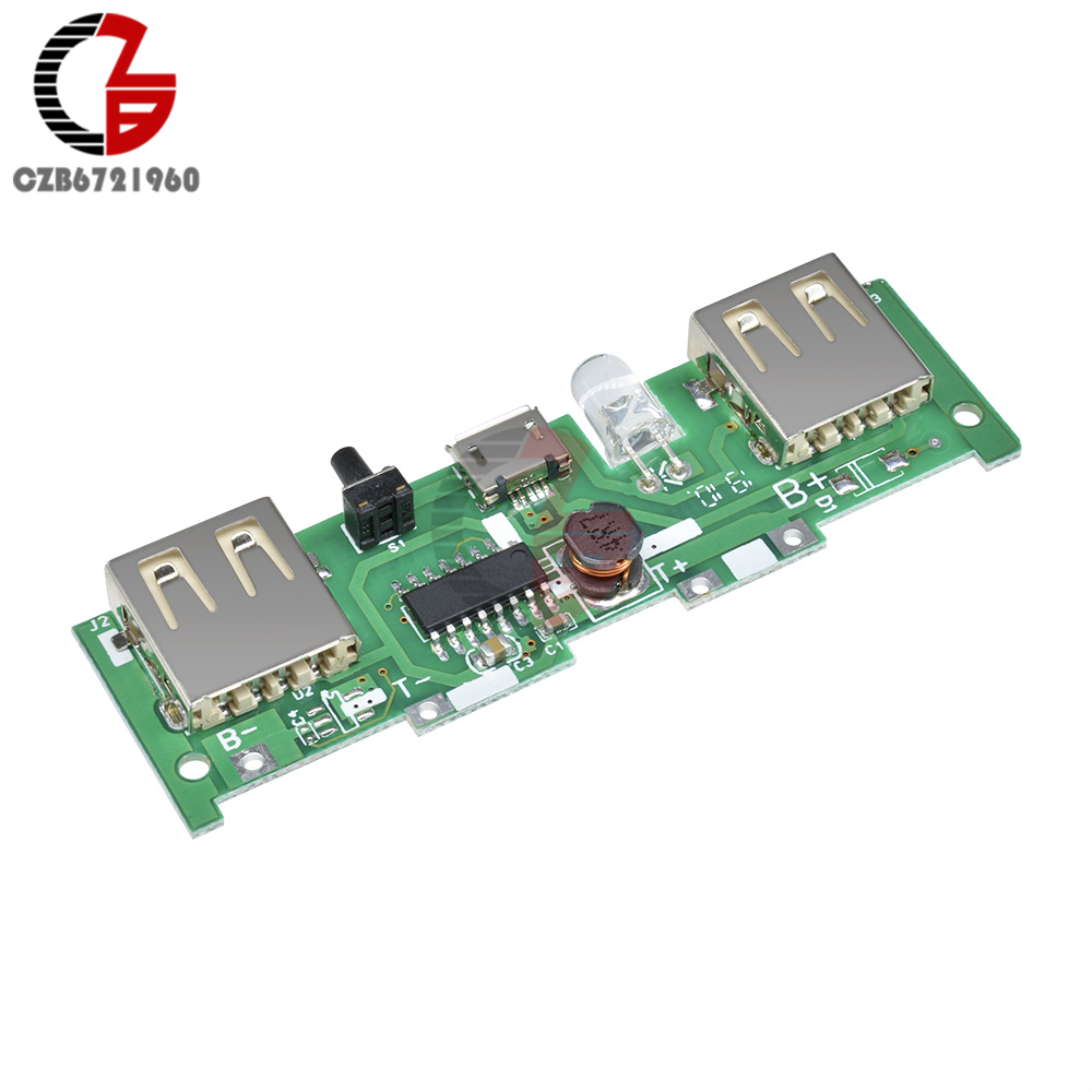 Dual USB Battery Charger Module Board 5V 2A LCD all-in-one Boost Lithium Lion