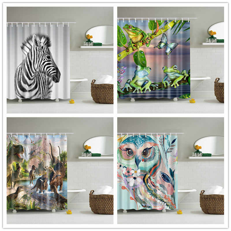 Waterproof polyester cloth shower curtains set with hooks animals style bathroom screen bath curtain fabric owl, frog, horse
