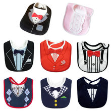 New Fashion Waterproof Baby Boy Tuxedo Bibs Newborn Dinner Feeding Bib Saliva Towel Baby Red Bow tie Gentleman baberos(China)