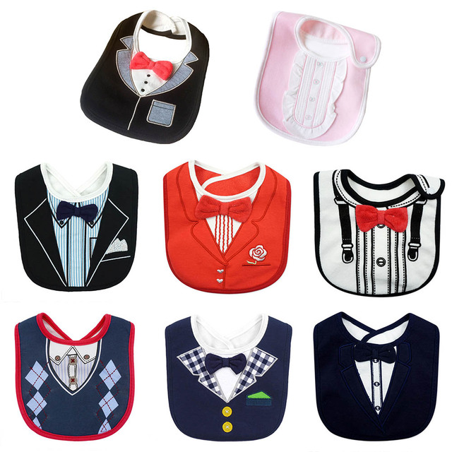 New Fashion Waterproof Baby Boy Tuxedo Bibs Newborn Dinner Feeding Bib Saliva Towel Baby Red Bow tie Gentleman baberos