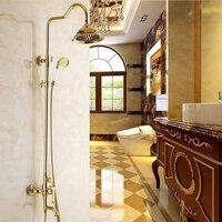 Bath Shower Sets Luxury Gold Brass Shower Faucet Set Single Handle Single Holder Dual Control Bathtub Mixer Hand Showe