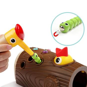 Wooden Magnetic Woodpecker Catch Caterpillar Worms Game Educational Kids Toy Intelligence Developmental Toys Gift For