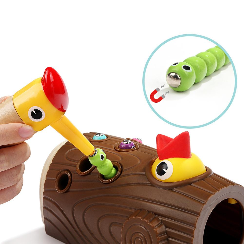Wooden Magnetic Woodpecker Catch Caterpillar Worms Game Educational Kids Toy 2019 image