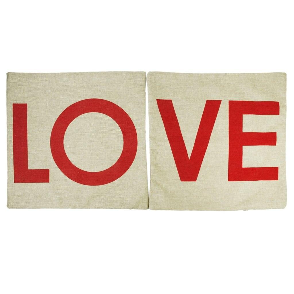 Linen Cotton Double Bed Sofa Layer Design Home Decor Pair LO + VE Head Pillow Cover