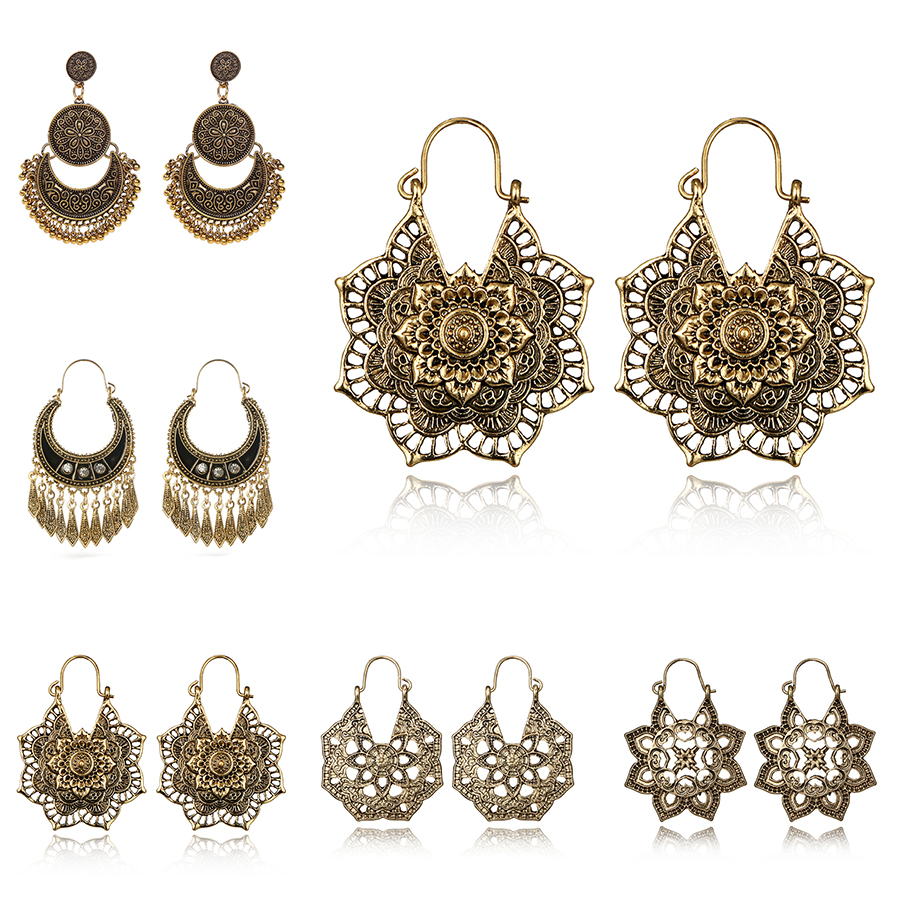 HuaTang Vintage Antique Gold Silver Color Earring Geometric Ethnic Flower Carving Drop Earring for Women Girl Dangle Jewelry