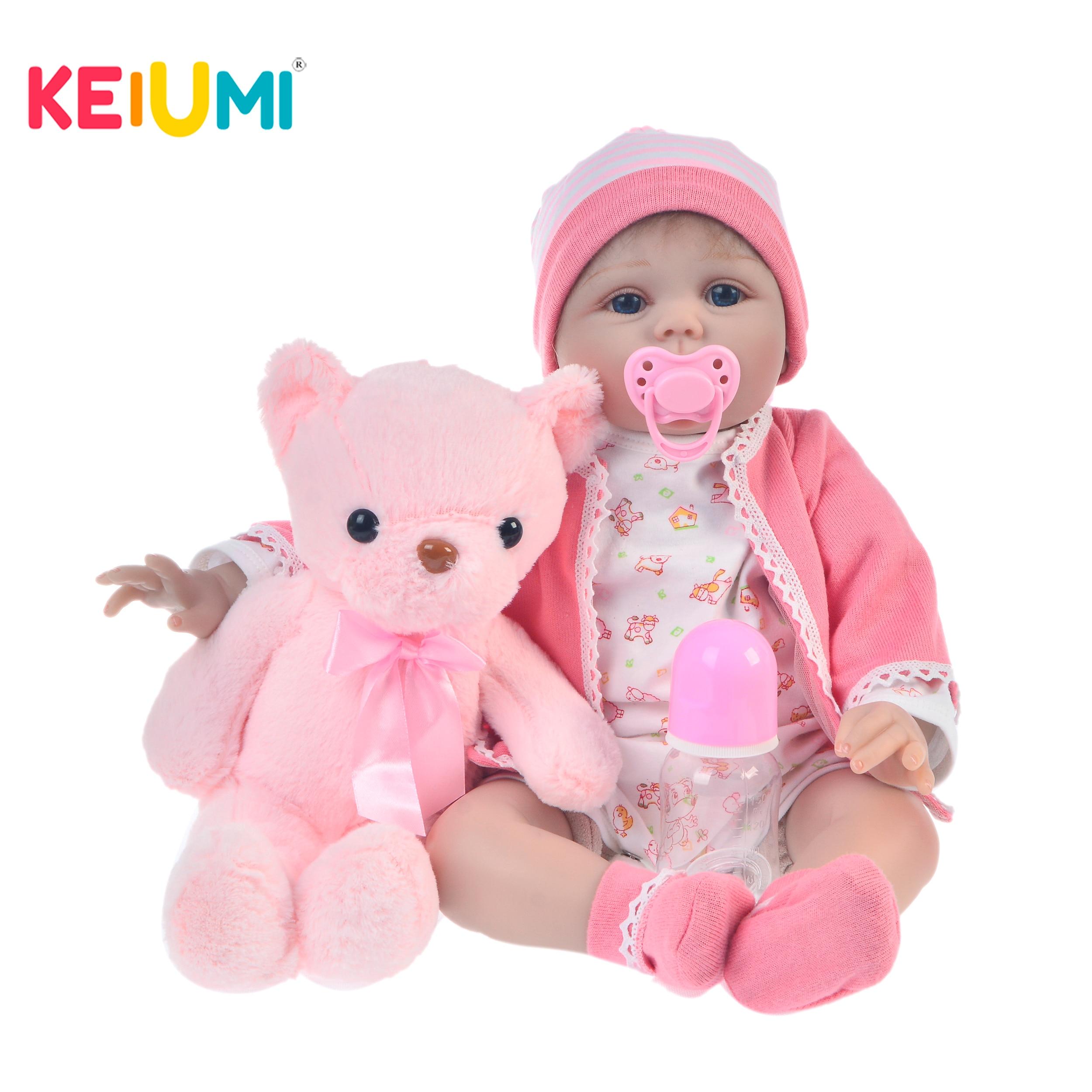 KEIUMI Fashion Soft Silicone Reborn Baby Doll 22 55 cm Lifelike Boneca Reborn Brinqudos For Kids