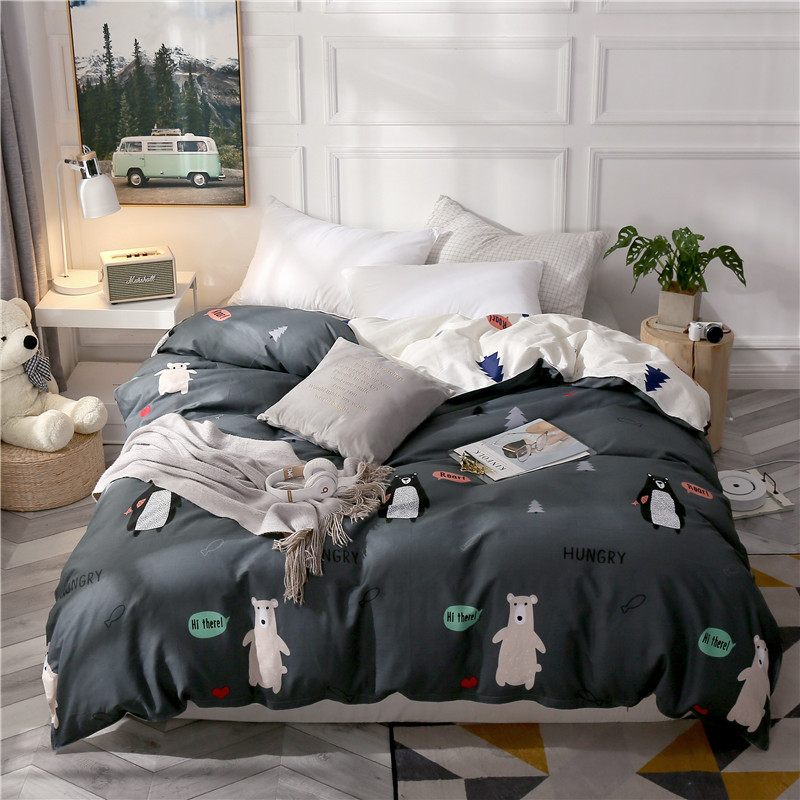 The Latest Simple And Stylish Cotton Quilt Cover Bear Print Quilt Cover Comfortable Soft Home Bedding Quilt Cover