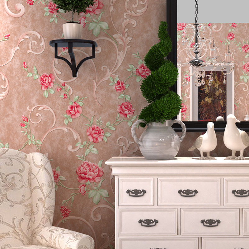 Rustic Vine Flower 3D Wall Paper Embossed Non-woven Flower Wall Paper Roll Living Room Wallcovering Wallpaper Floral papel pin beibehang flower wallpaper roll non woven wall paper 3d paper contact for living room birds wall paper roll home decoration