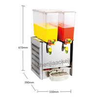 Two cylinder juice machine Drink container 9L *2 Commercial Juice Dispenser Cool & Mixing Beverage Machine 220v 280W 1pc