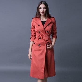 Hot Double Breasted Md-long Trench Coat Women 2020 New Fashion Belt Cloak Polerones Mujer Windbreaker Female Abrigo S-4xl