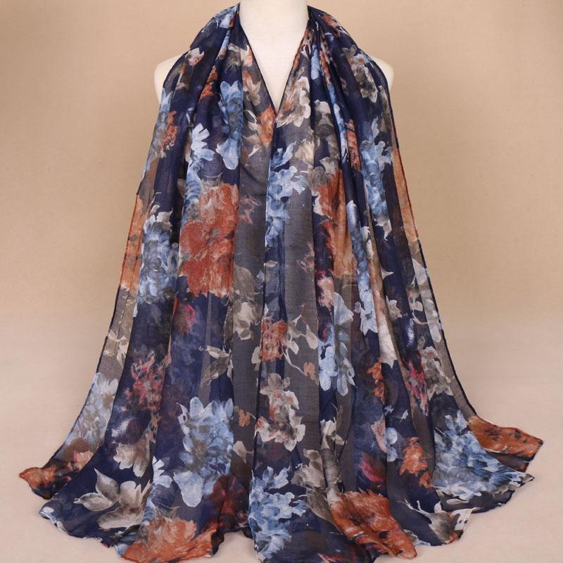 Printed Cotton Hijabs For Women Casual Long Scarf Anti-uv Muslim Hijab Arab Wrap Shawl Headwear 180x85cm