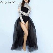 9073ea30997 4 слоя черный Наложение юбка модные длинные юбки Тюлевая юбка невесты  Overskirt шикарный пол Длина Saia