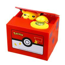Cute pokemon toy piggy bank electric stealing piggy bank Pikachu birthday gift board game for children 8 20cm toy story hamm piggy bank pink pig coin box pvc model toys for children kid birthday gift