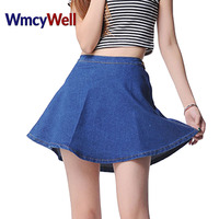 WmcyWell Women S Fashion Mini Jeans Skirt 2017 Spring Summer Ladies Casual High Waist A Line