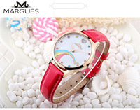 2018 new MARGUES brand Quartz watch for women Simple color Love diamond rainbow fashion watches casual leather strap clock 040
