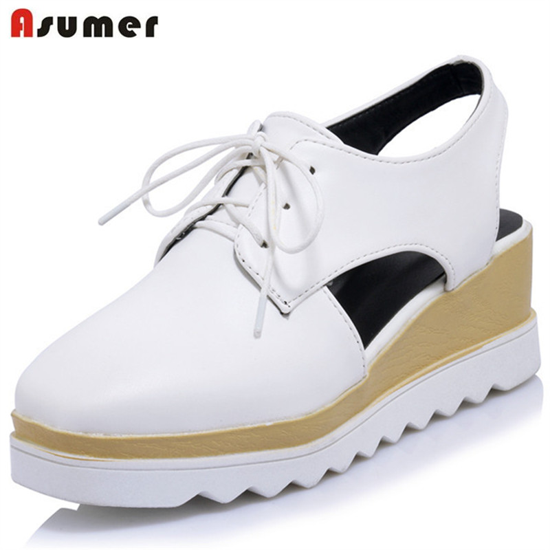 Asumer Slingbacks shoes spring autumn wedges shoes lace-up square toe platform shoes fashion PU soft leather women pumps xiaying smile woman pumps shoes women spring autumn wedges heels british style classics round toe lace up thick sole women shoes