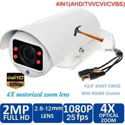 Wodoodporny 1080P 2.0 megapikselowy HD AHD CVI TVI analogowy 4 w 1 inteligentny Mini kamera typu Bullet z 10-krotnym zoomem 50m night vision freeship