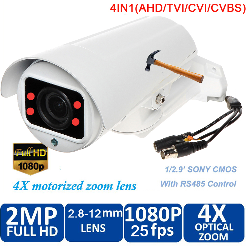 waterproof 1080P 2.0 Megapixel HD AHD CVI TVI Analog 4 in 1 Smart Mini Bullet Camera with 10x zoom 50m night vision freeship