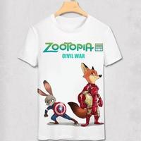 Zootopia T Shirt New Cartoon Summer Men T Shirt Nick Fox Judy Rabbit 3D Printing Civil