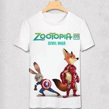 Zootopia майка новый мультфильм лето мужчин ник фокс джуди кролик 3D печать гражданская война дизайн топ ти Kcco Tshirt подарок любовника