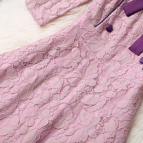 Diseñador Verano Elegante Línea 2019 Mini Vestido Lazo Pista Slim Doble Las Vestidos De Rosa Mujeres 5pqxwc1gpU