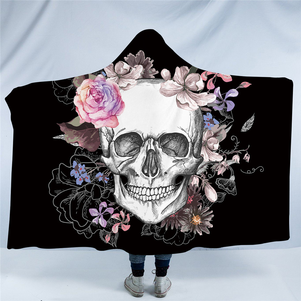 Beddingoutlet sugar skull flower hooded blanket for adults floral flower skull is a marvelous blanket the trendy and youth inspired flower skull design is perhaps the finest feature of these stunning home textiles mightylinksfo
