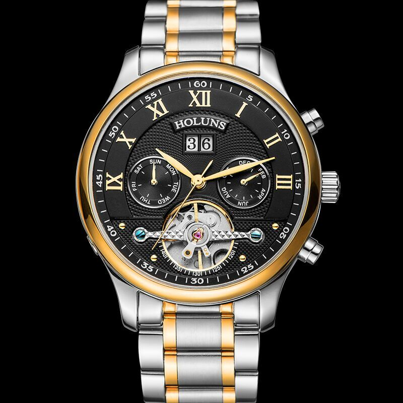 Hot Drop Shipping Skeleton Tourbillon Mechanical Watch Men Automatic Rose Gold full Steel Mechanical Wrist Watches Reloj Hombre original binger mans automatic mechanical wrist watch date display watch self wind steel with gold wheel watches new luxury