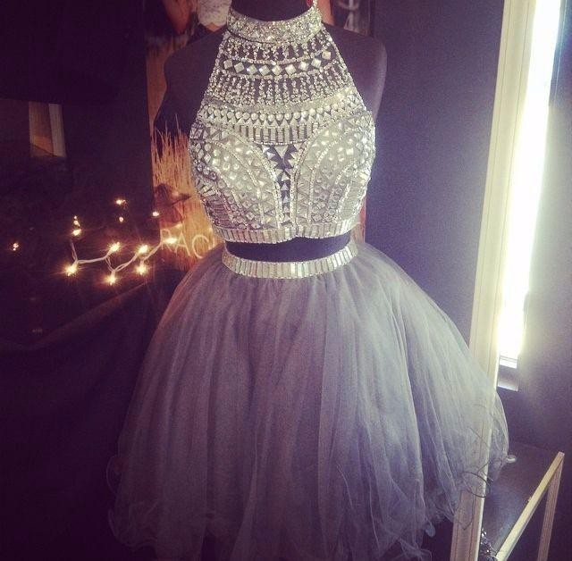 6aae7027e2 Real Photo Gray Mini Tulle Open Back Women Gowns Short Two 2 Piece Homecoming  Prom Party Dresses 2017 With Beaded Robe De Bal