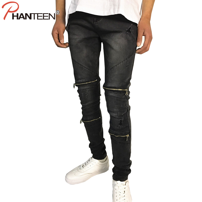 Phanteen Black Washed Man Jeans Slim Fit Motorcycle Skinny Elastic Zipper Jeans High Quality Fashion Men Brand Pencil Jeans