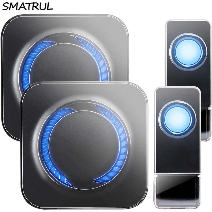 SMATRUL Waterproof Wireless Doorbell EU Plug 300M long range home smart Door Bell ring call 2 button 2 receiver LED light Deaf new restaurant equipment wireless buzzer calling system 25pcs table bell with 4 waiter pager receiver