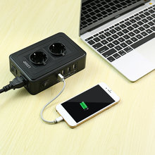 LESHP Portable USB Smart Power Charging Socket 4 USB Ports 1-2.4A Black 10A 2500W Environmental Protection цена