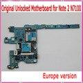 Versão europa & original desbloqueado n7100 maiboard, para samsung galaxy note 2 n7100 motherboard com batatas fritas, frete grátis