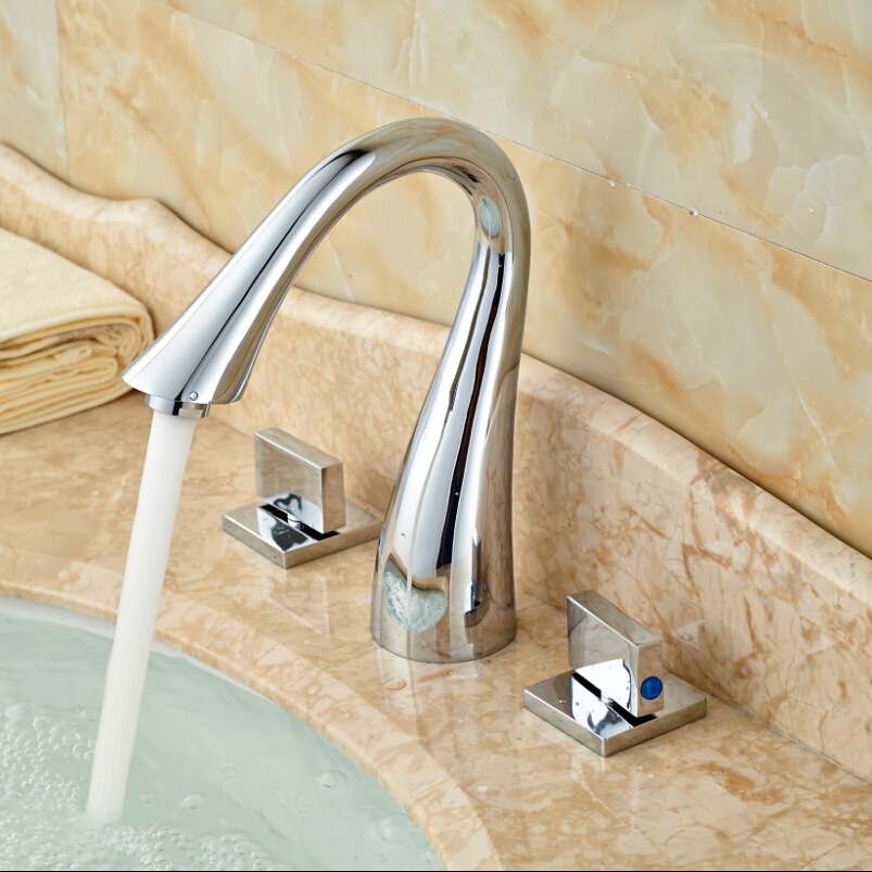 ФОТО Goose Neck Deck Mount Brass Basin Faucet Tap Dual Square Handle Bathroom Mixer Taps Chrome Finish