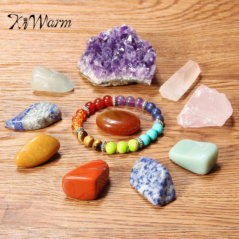 KiWarm 11PCS Crystal Quartz Set Chakra Bracelet Rose Crystal Quartz Point Amethyst Cluster Chakra Tumbled Stones DIY Crafts