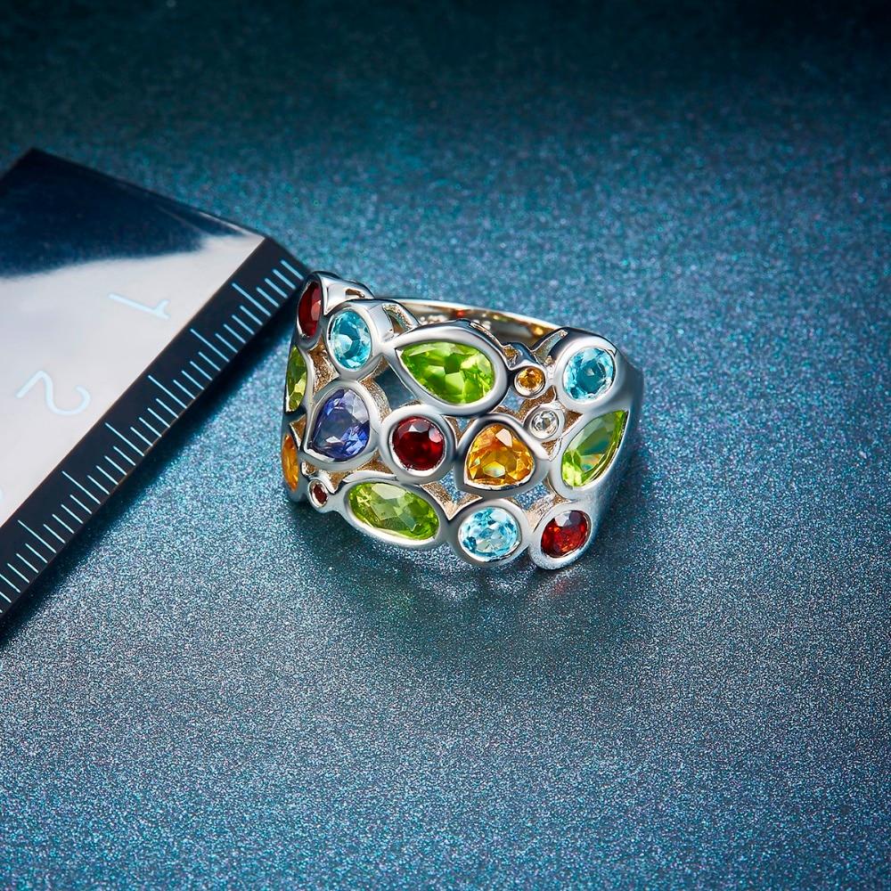 Hutang Multi Edelsteen vrouwen Ring Echt Topaas Granaat Citrien 925 Sterling Zilveren Cluster Ringen voor Fijne Elegante Sieraden Gift-in Ringen van Sieraden & accessoires op  Groep 3