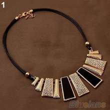 New Design Fashion Women Beads Enamel Bib Leather Braided Rope Chain Golden Necklace chokers necklaces necklaces & pendants