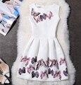 Comercio al por mayor 2016 Vestido de Verano Mujer Ropa Jacquard 3D Mariposa Impreso A-line Drapeado Vestidos para el Partido