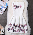 Wholesale 2016 Summer Dress Women Clothing Jacquard 3D Butterfly Printed A-line Draped Dresses for Party