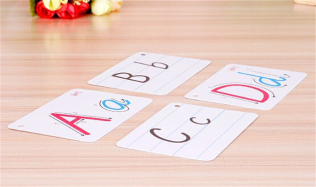 26 Letter English Flash Card With Buckle Handwritten Montessori Early Development Learning Educational Toy For Children Kid Gift