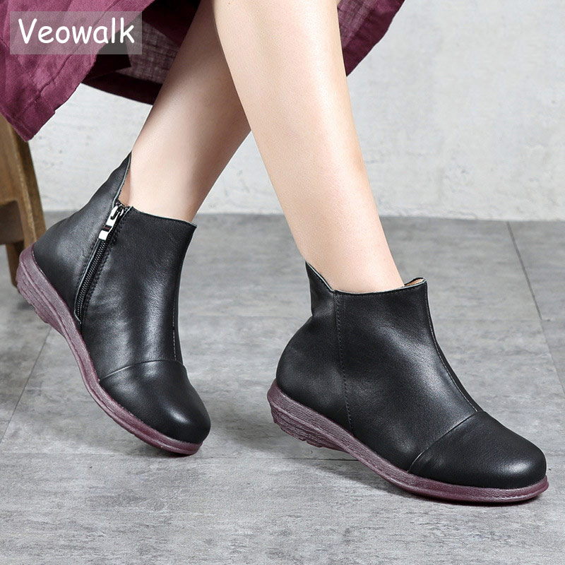 Veowalk Genuine Leather Women Short Ankle Boots Zip Up Retro Ladies Casual Comfort Real Leather Flat Booties Shoes Black Brown