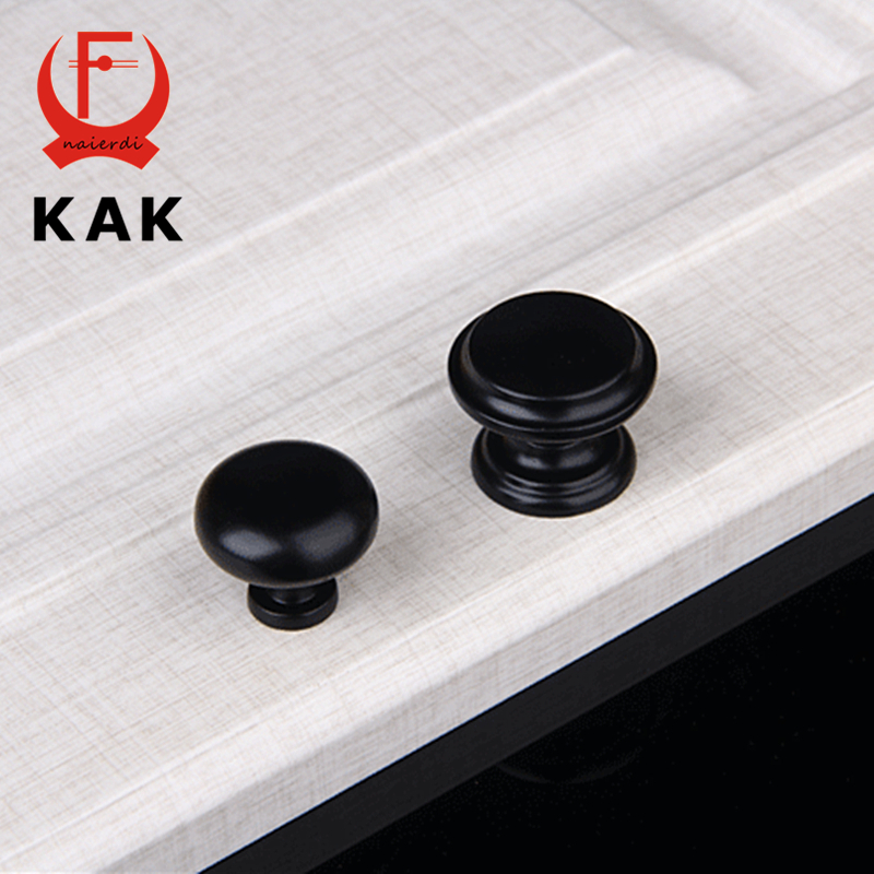 KAK American Style Black Single Hole Handles Round Cabinet Drawer knobs Handles Black Wardrobe Door Handles Furniture Hardware furniture drawer handles wardrobe door handle and knobs cabinet kitchen hardware pull gold silver long hole spacing c c 96 224mm